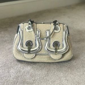 Fendi Bags - Fendi Double Buckle Straw Satchel
